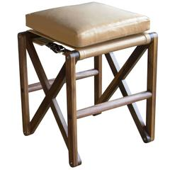 Maclaren Stool in Oiled Walnut with Leather Upholstery