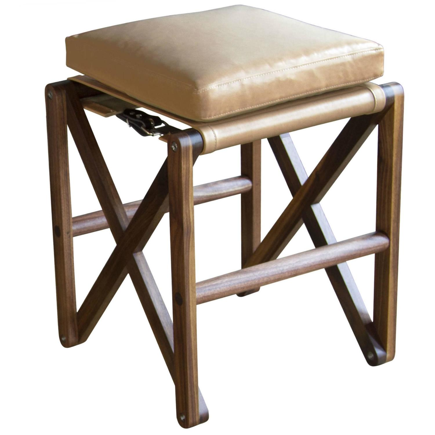 Maclaren Stool In Oiled Walnut With Leather Upholstery For