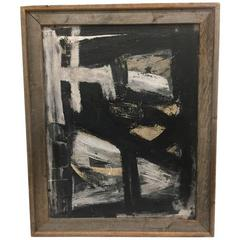 Black and White Abstract Expressionist Oil Painting in the Manner of Franz Kline
