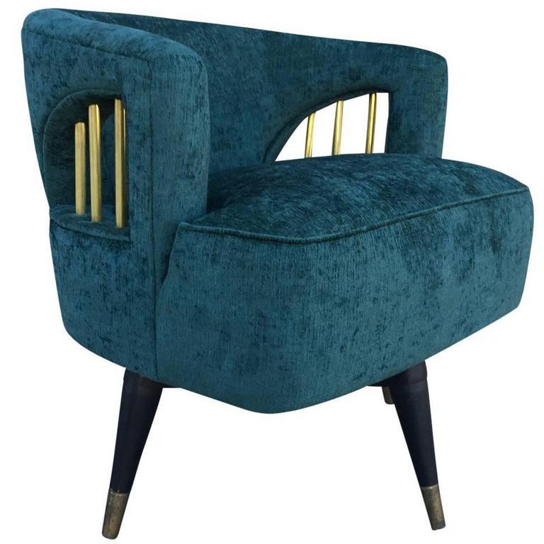 Mid Century Modern Emerald Green Velvet And Brass Swivel Chair At 1stdibs