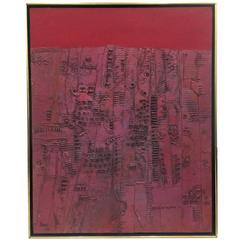 Pink and Red Brutalist Abstract Expressionist Mid-Century Painting