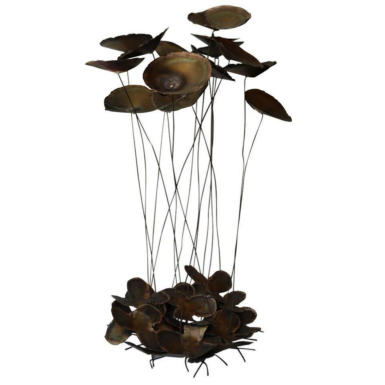 Large Brutslist Curtis Jere Style Brass Lilypad Kinetic Table Sculpture