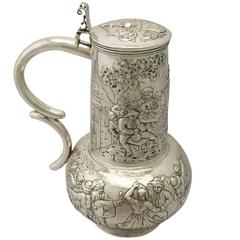 Antique German Silver Flagon, Arts and Crafts Style
