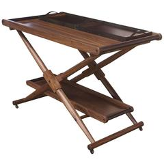 Matthiessen Folding Bar Table in Oiled Walnut with Hand-Stitched Leather Handles