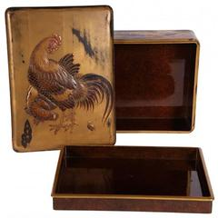 Signed Antique Japanese Lacquerware with Rooster