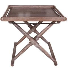 Matthiessen Tray Table in Oiled and Limed Walnut with Havana Leather Straps