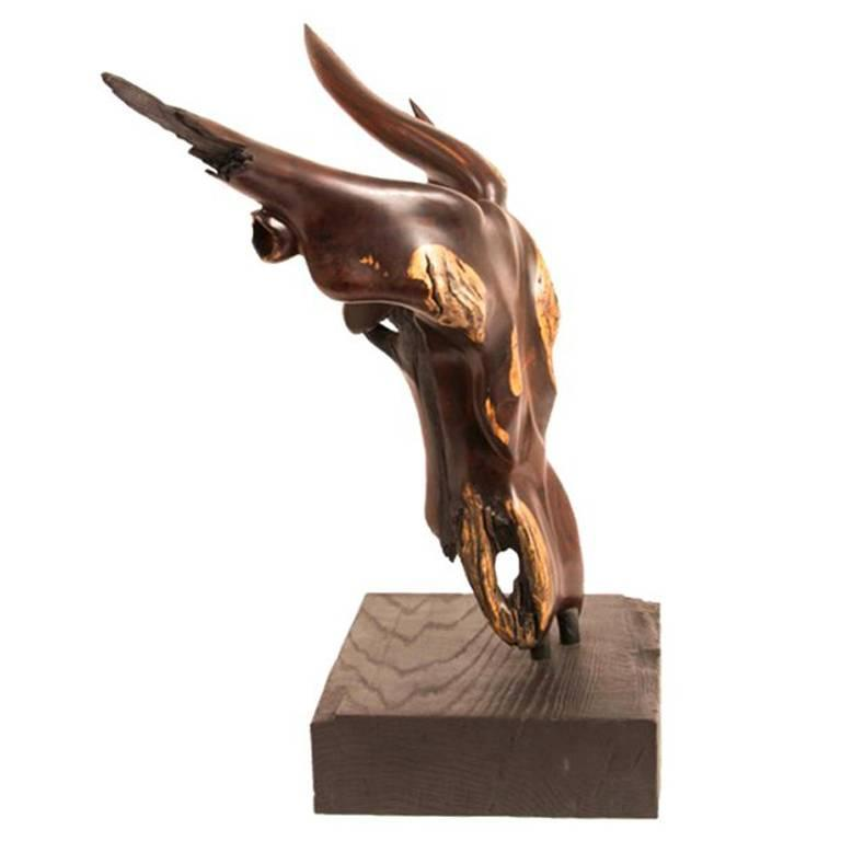 """Rag Horn"" Carved Ironwood Sculpture by Renowned Woodworker Brad Sells"