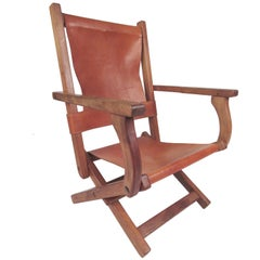 Contemporary Modern Folding Leather Armchair