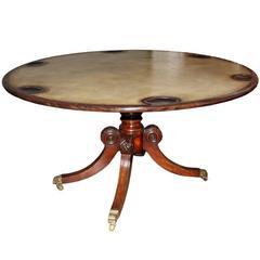 19th Century English Regency Burl Mahogany Games Table
