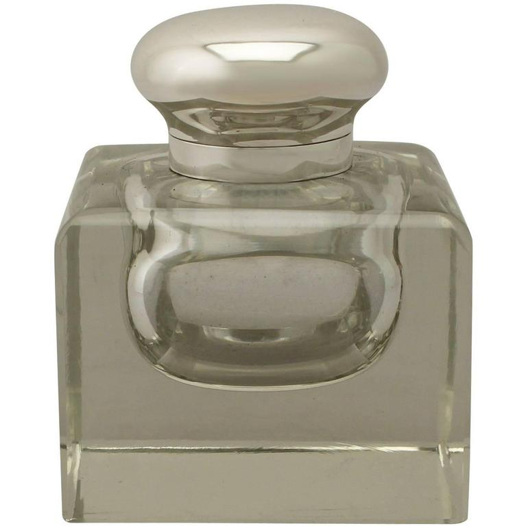 Antique Cut Glass and Sterling Silver Desk Inkwell, George V For Sale