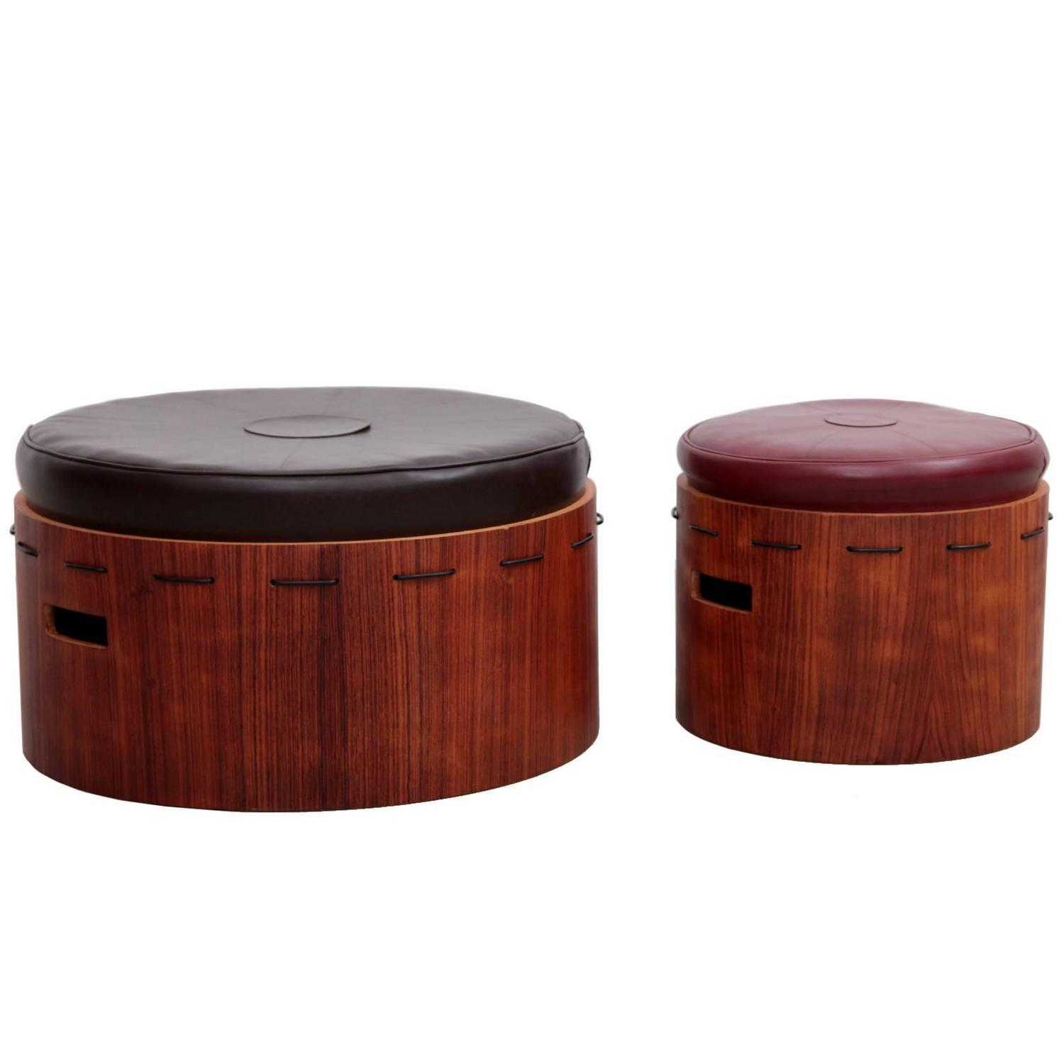 Huge Pair Of Danish Rosewood Ottoman Or Poufs With