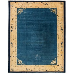 Early 20th  century Antique Blue Chinese Peking wool Rug