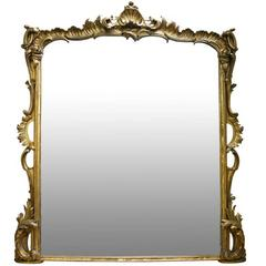 Large 19th Century Victorian Giltwood Overmantle Mirror