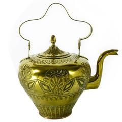 Dutch Brass Kettle with Repousse Decoration, circa 1765