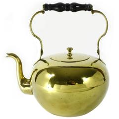 French Brass Kettle with Swing Ebony Handle, circa 1750