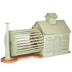 Folk Art Tin Building with Hamster Wheel