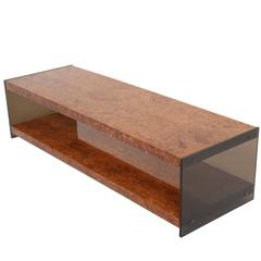 Milo Baughman burlwood and glass mid-century coffee table.