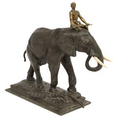 African Elephant and Rider Sculpture