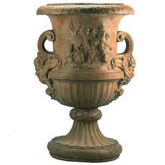 Big Terracotta Vase with Cupid After René Frémin