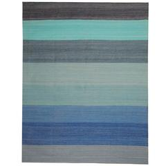 Striped Rug, Kilim Rugs, Blue Carpet from Afghanistan, Modern Striped Kilim Rugs