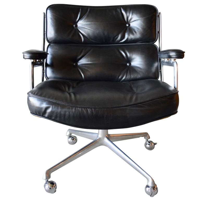 Bon Rare Vintage Black Leather Eames Time Life Lobby Chair For Sale