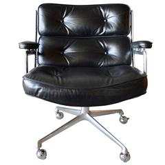 Rare Vintage Black Leather Eames Time Life Lobby Chair