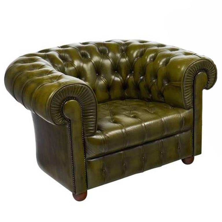 Vintage Green Leather Chesterfield Club Chair For Sale