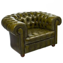 Vintage Green Leather Chesterfield Club Chair