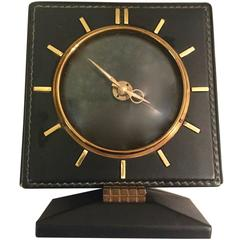 Adnet Style French Leather and Brass Desk Clock