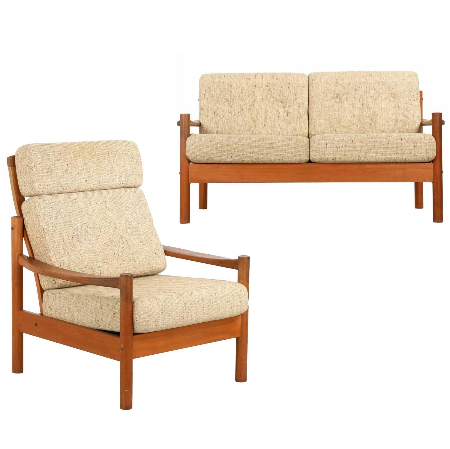 Danish Mid Century Sculpted Teak Lounge Chair and Sofa by Tarm