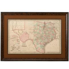 1856 Map of the State of Texas by J. H. Colton