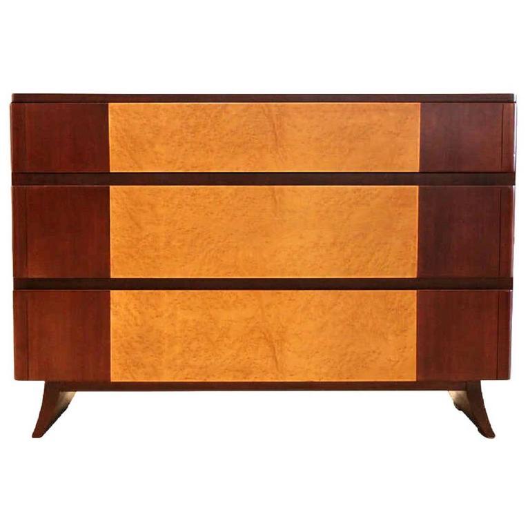 Birdseye Maple And Mahogany Dresser By R Way At 1stdibs