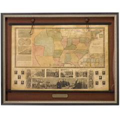 1845 United States Hanging Wall Map by T & E. H. Ensign