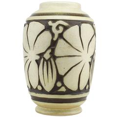 "Joseph Mougin and Georges Conde Art Deco Stoneware Vase ""Les Figues"", 1925"