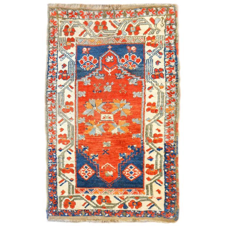 Turkish Yastik Rug: Wonderful 19th Century Turkish Yastik Rug For Sale At 1stdibs