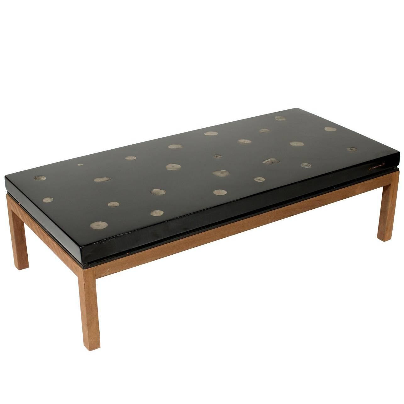 Coffee Table By E Allemeersch Black Resin And Marcassite For Sale At 1stdibs