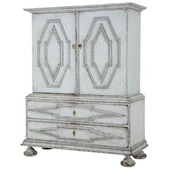 19th Century Swedish Painted Cabinet on Chest