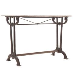 French Early 20th Century Art Nouveau Iron and Marble Bistro Table