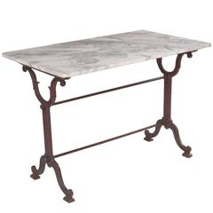 French 1920s Bistro Table with Marble Top