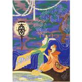 """""""Conversing by the Scented Pool,"""" Gorgeous Art Deco Chinioserie Painting"""
