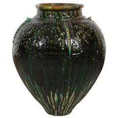Dark Green and Chocolate Antique Glazed Cast Terracotta Vase