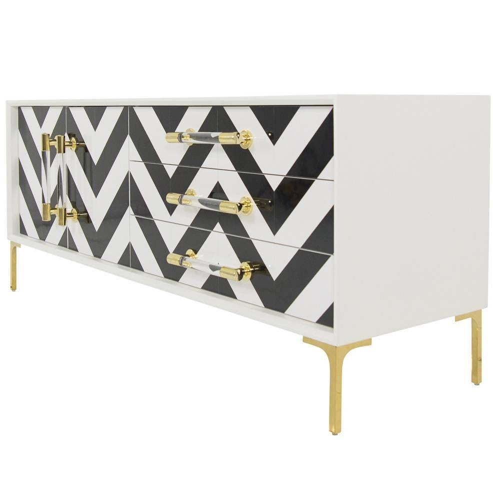 Lacquered Credenza w/ Black & White Chevron Fronts and Brass & Lucite Accents