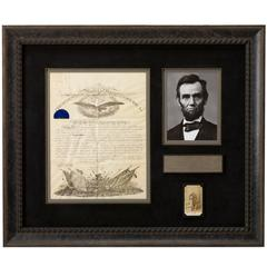 Abraham Lincoln Signed Civil War Military Commissioning Document, circa 1864