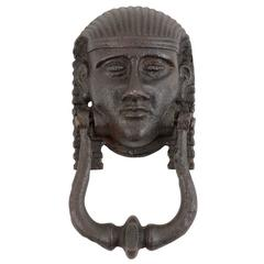 Cast Iron Egyptian Figural Door Knocker, circa 1920
