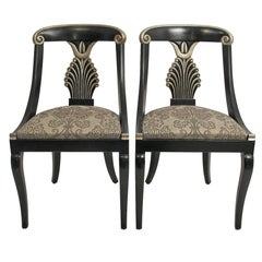 set of 4 Hollywood Regency Style Dining Chairs, (Set of Four)
