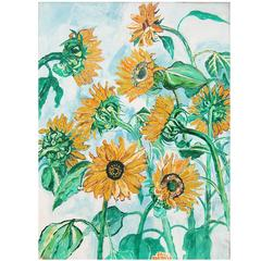 """Sunflowers"" Large Oil on Canvas by John Bratby RA"
