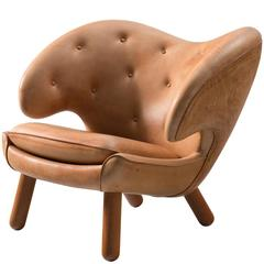 Finn Juhl Custom Pelican Lounge Chair in Special Cognac Leather Upholstery