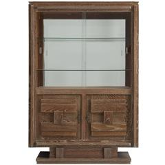 Art Deco Vitrine Cabinet in Cerused Oak
