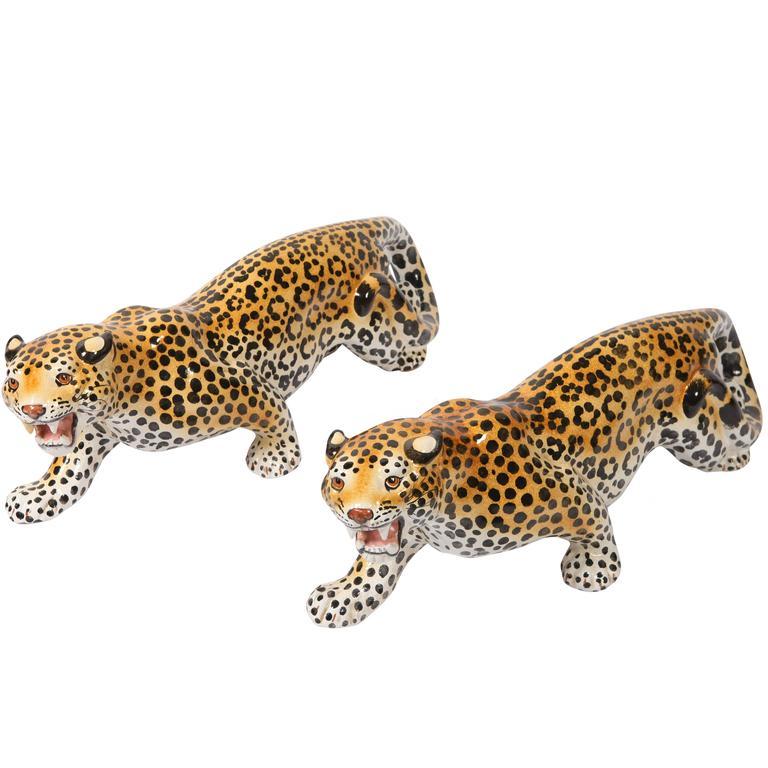 hollywood regency ceramic Leopard Sculptures