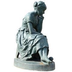 Cast Iron Statue Representing Cinderella, 19th Century